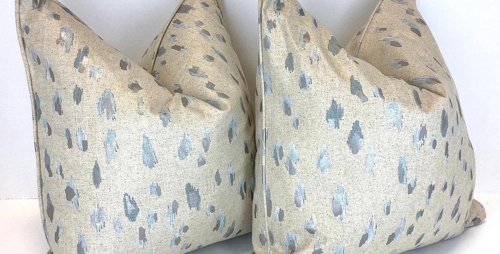 Asher Metallic Pillow Cover - Accent Metallic and Blue Pillow - Self Welt