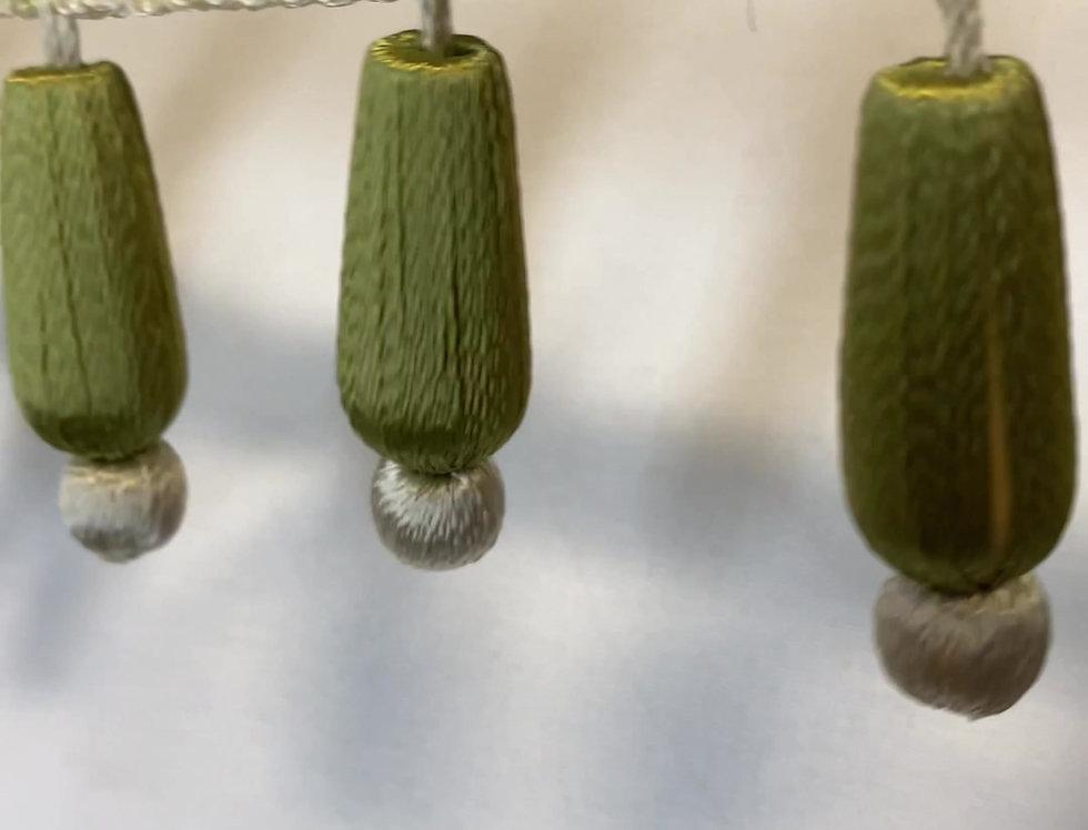 Sage - Cream - Beaded Tassel Trim - Trim By The Yard - Pillow Edging