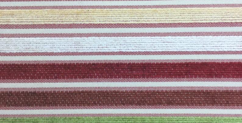Candy Stripe - Chenille Stripe - Red - green - White - Cream