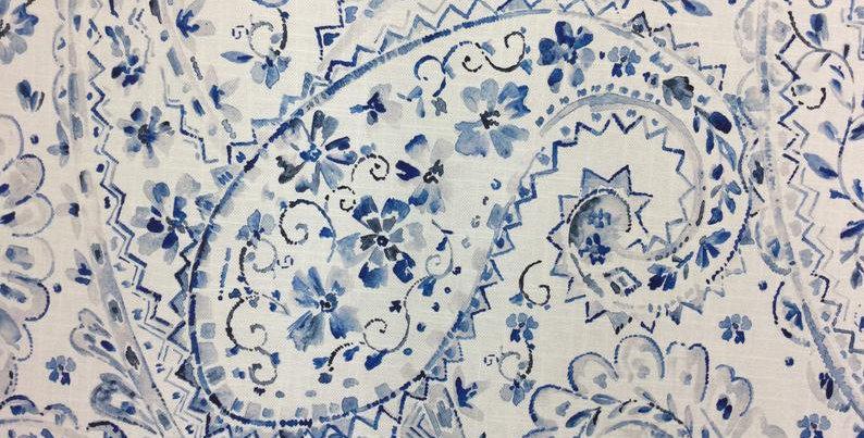 Pippa -  Saphire Paisley -  Drapery - Watercolor - Pillows