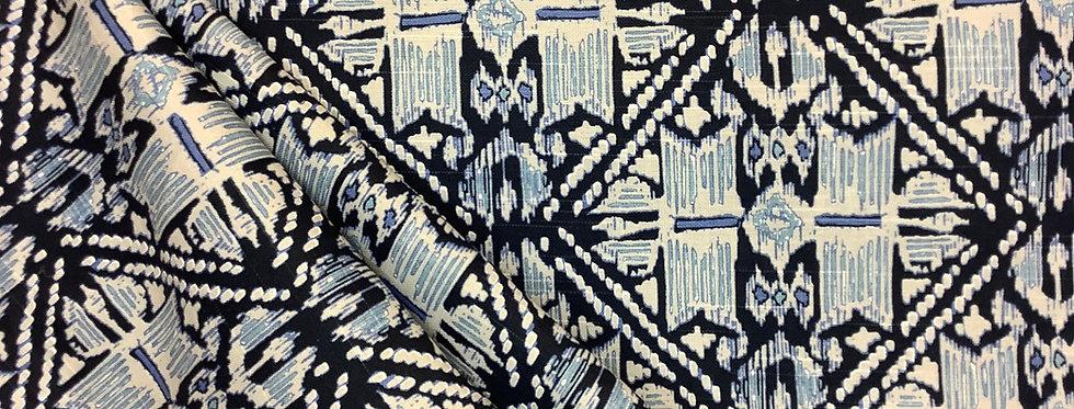 Havana Wedgewood - Geometric Pattern - Aqua and Navy - Gray - Fabric by the Yard
