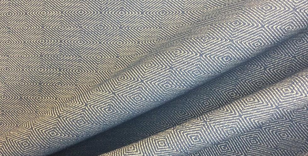 Navy Maze - Upholstery Fabric - Geometric - Small Scale Diamonds