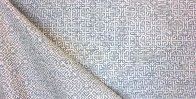 Gatehouse Aqua - Small Scale Pattern - Geometric - Light Blue - Semi Sheen
