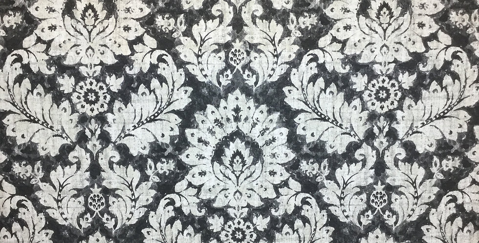 Distressed Black and White Damask