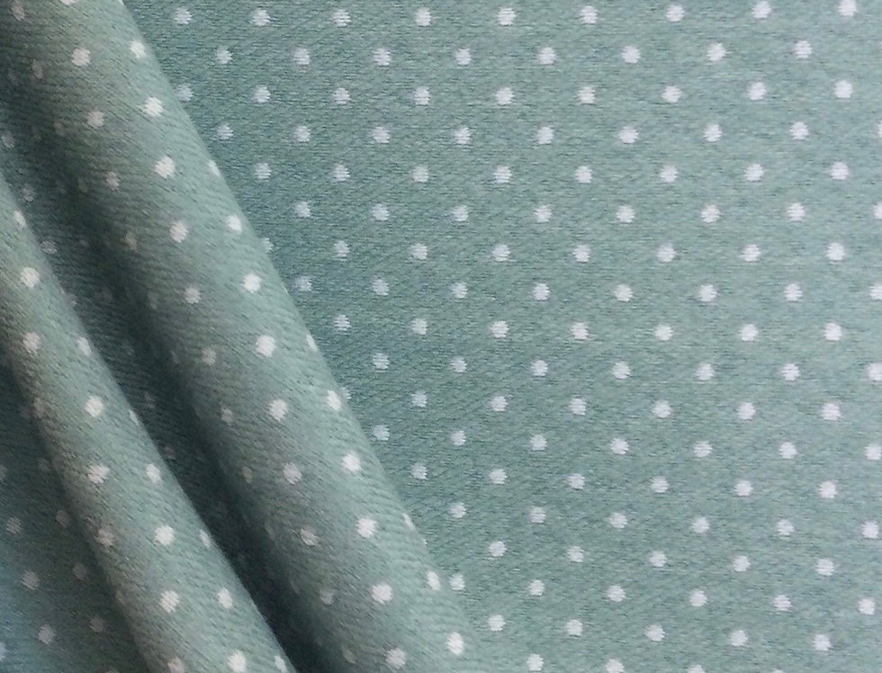 Aqua Dottie - Upholstery Fabric - Polka dotted Fabric - Aqua Blue Polka Dots