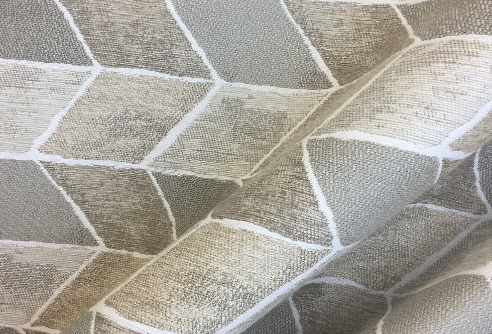 Neutral Tile - Gray Taupe - Geometric - Zig Zag - Fabric by the Yard