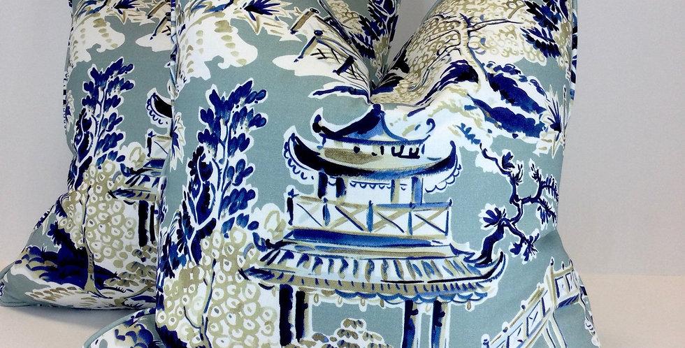 Ming Rain Pillow Covers - 22 x 22 Self Welt