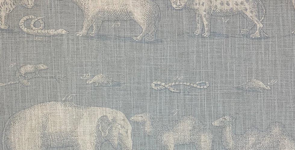 Andrew Martin - Kingdom Powder - Linen -Fabric By The Yard - Soft Blue Animal Pa