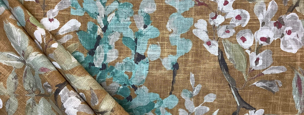 Wisteria Ochre - Floral - Pastel Green - Light Blue - Pink - Fabric by the Yard