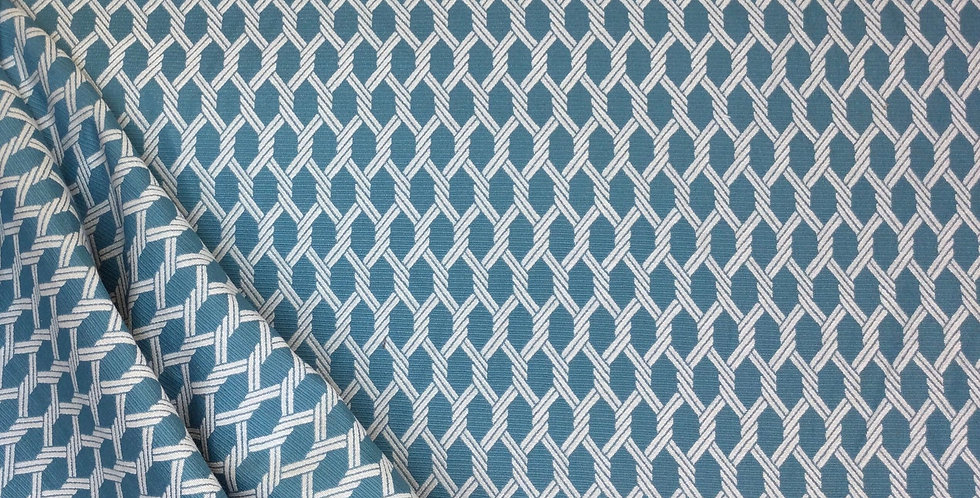Teal and White Rope Lattice - Geometric Pattern - Woven Pattern