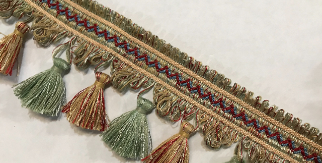 Red - Blue - Green - Tassel Fringe
