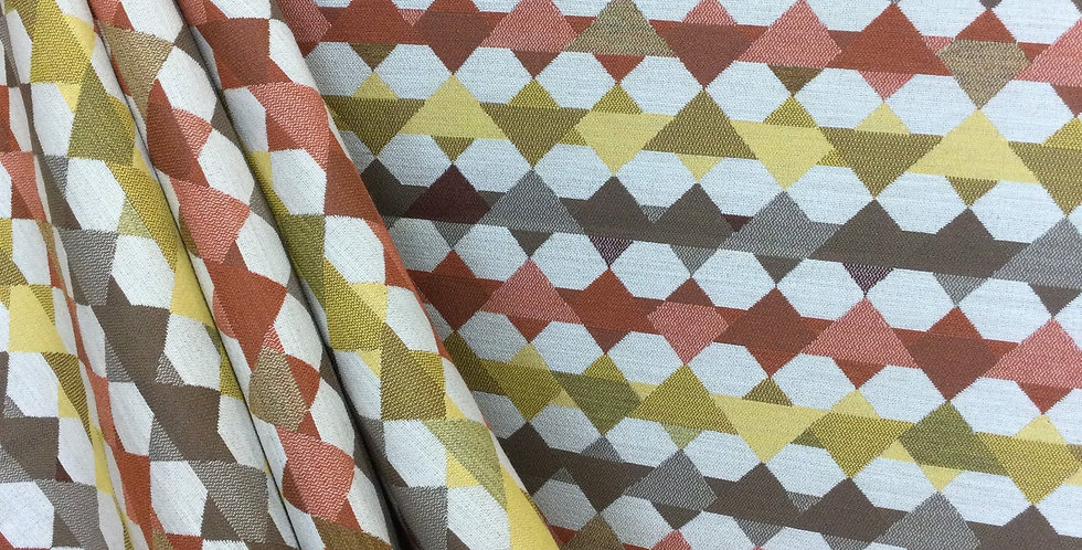 Warm Toned Geometric Upholstery Fabric - Persimmon - Yellow - Taupe - Custom Cut