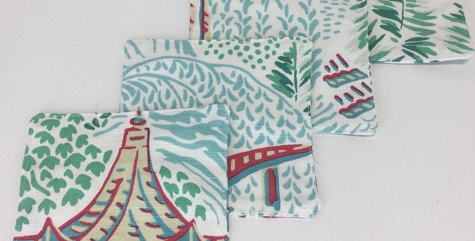 Aqua Garden Chinoiserie Cocktail Napkins - Set Of Four - Fabric Coasters