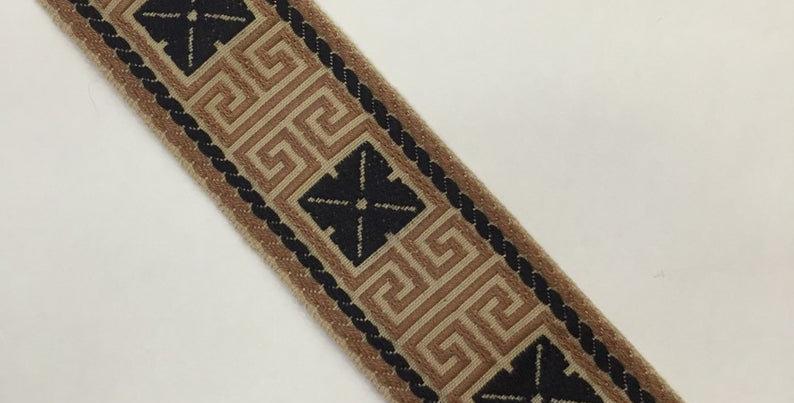Greek Key Flat Braid - Copper and Black Braid