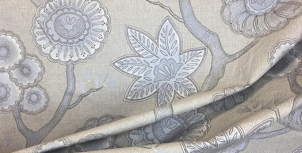 Gloss Platinum - Glossy Gray - Floral Fabric - Sandy Background - Varying Flower
