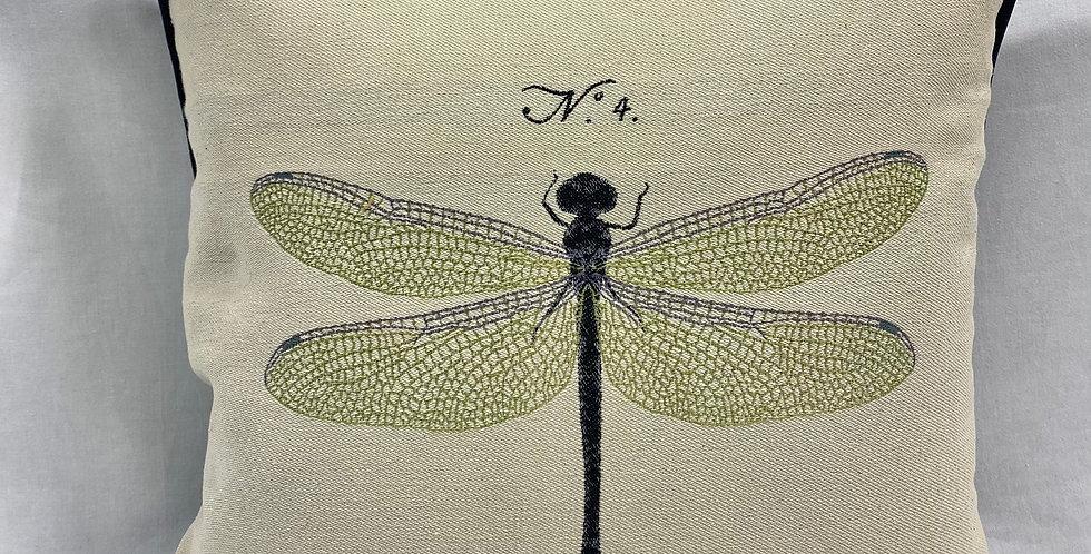 """Dragonfly Pillow Cover - 20"""" x 20"""" - Black Velvet Back and Welt."""