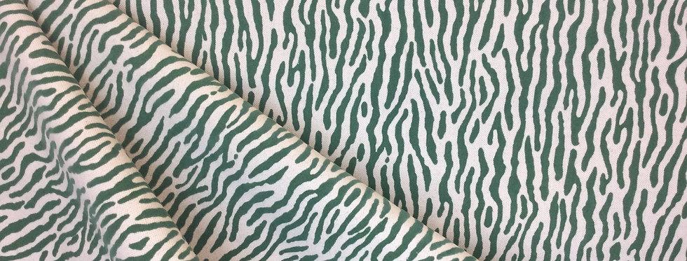 Zing - Emerald - Flocked Upholstery Fabric - Animal Print - Zebra