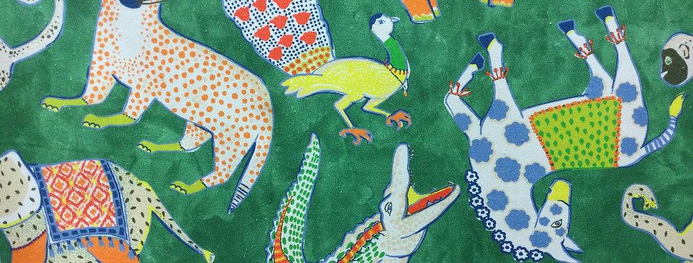Hullabaloo Green - Modern Menagerie - Playful Pattern - Novelty Fabric - Animals