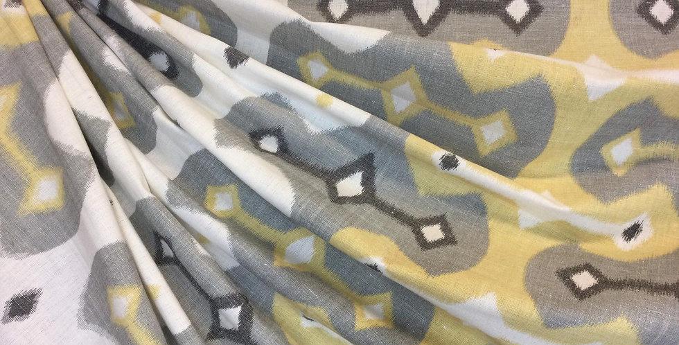 Winnie - Dessert Geometric - Ikat - Gray and Yellow Ikat - Ikat Pillow Covers
