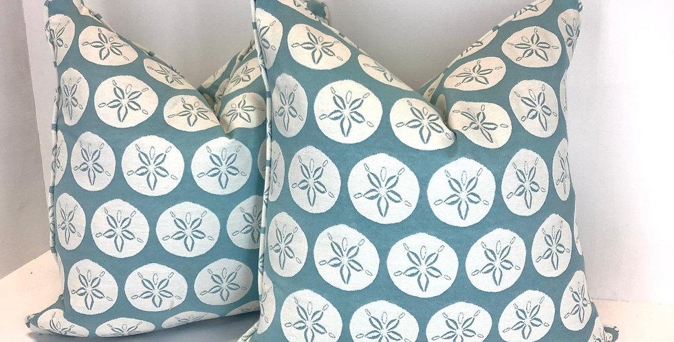Blue Sand Dollar Pillow Cover