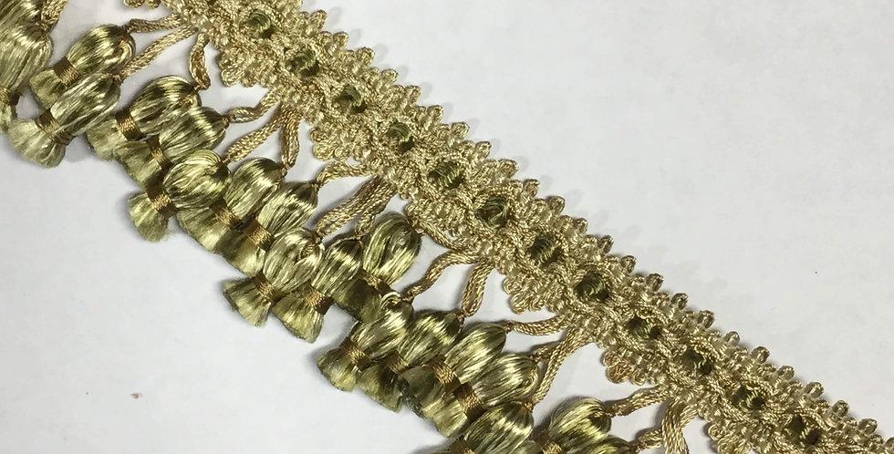 Olive Green and Gold Triple Tassel Fringe