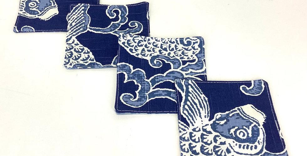 Koi Fish - Navy Blue and White - Cocktail Napkins - Set of 4 - Fabric Coasters