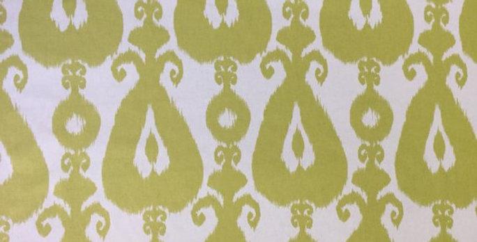 Lime Green and White Bohemian Ikat - Geometric Iskander
