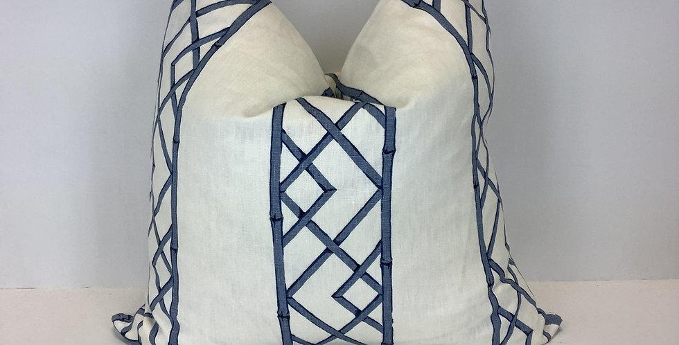 Dark Blue Lattice Pillow - Knife Edge - Accent Pillow