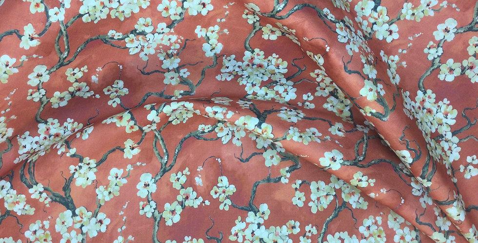 Sakura - Persimmon - Covington - Red Cherry Blossom Fabric - Floral