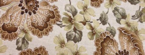 Brown and Green Cotton Linen Pop Flower