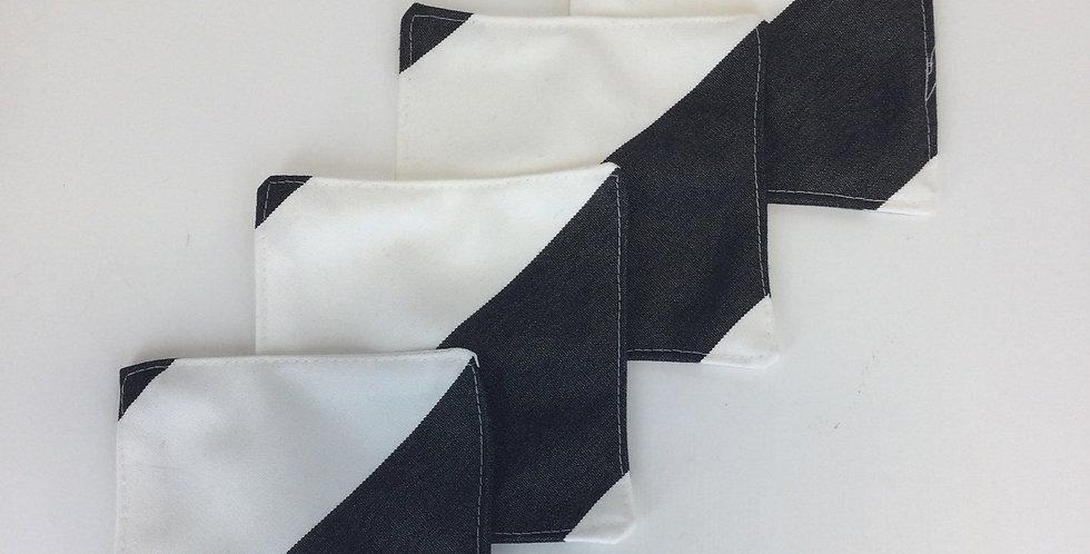 Black and White Diagonal - Sunbrella Cocktail Napkins - Set of Four