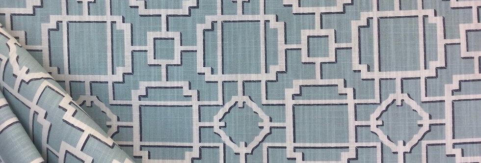 Makura - Spa - Covington - Geometric - Lattice Print Fabric - Calm Blue