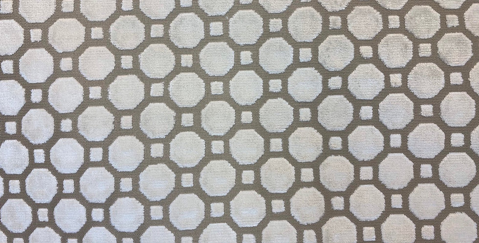 Robert Allen Velvet Geo - Velvet Cut Geometric - Neutral Beige and White
