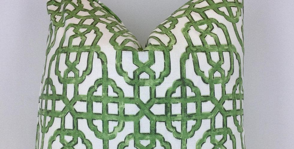 Green Lattice Pillow Cover