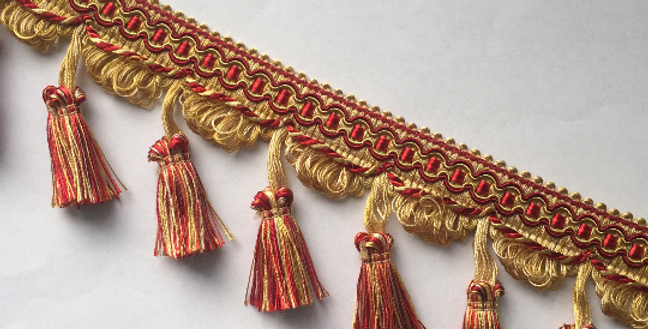 Red and Gold Tassel Fringe