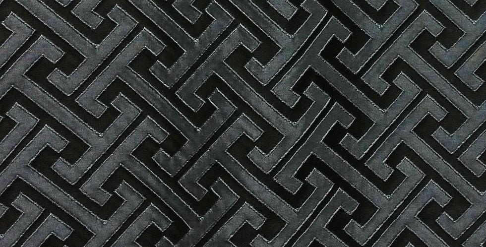 Skylar Midnight - Greek Key Pattern Fabric - Dark Color Greek Key