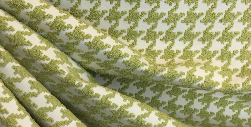 Textured Green Houndstooth - Green Upholstery Fabric - Houndstooth Upholstery Fa