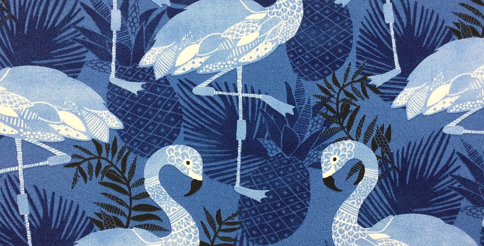 Tiki Dance - Navy Outdoor Fabric - Outdoor Flamingo Pillow Covers - Pool Side Pi