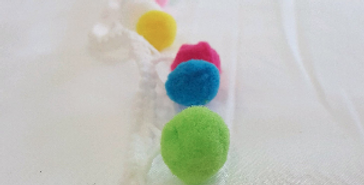 Soft Multicolor Ball Fringe - White