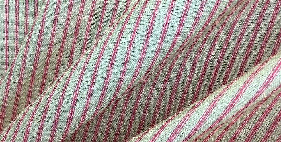 Hot pink ticking stripe on linen - pink stripe - pink - white - pop of color- pi