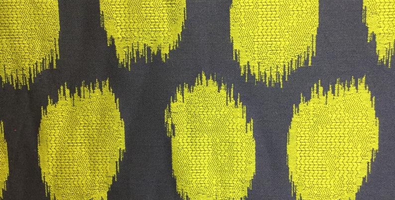 Navy and Lime Green Ikat Dots - Modern Ikat - Bold Fabric - Home Decor - Fabric