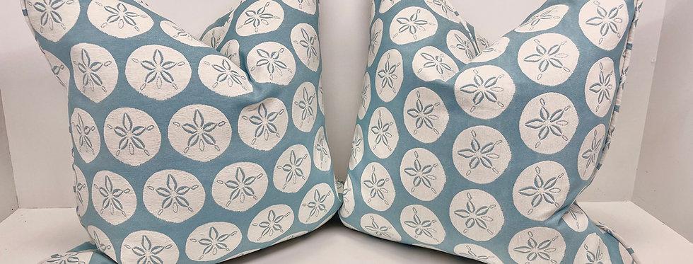 Blue Sand Dollar Pillow Cover - Upward Facing Sand Dollars -Beachy Fabric