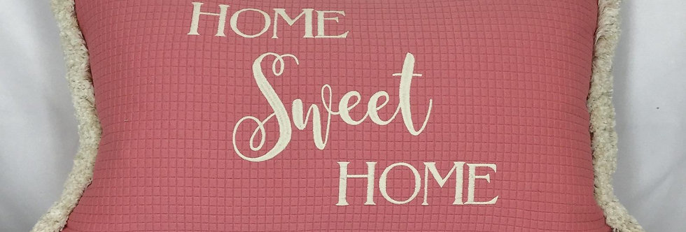 """Home Sweet Home Pink Embroidered Throw Pillows - """"Home Sweet Home"""" - Brush Fring"""