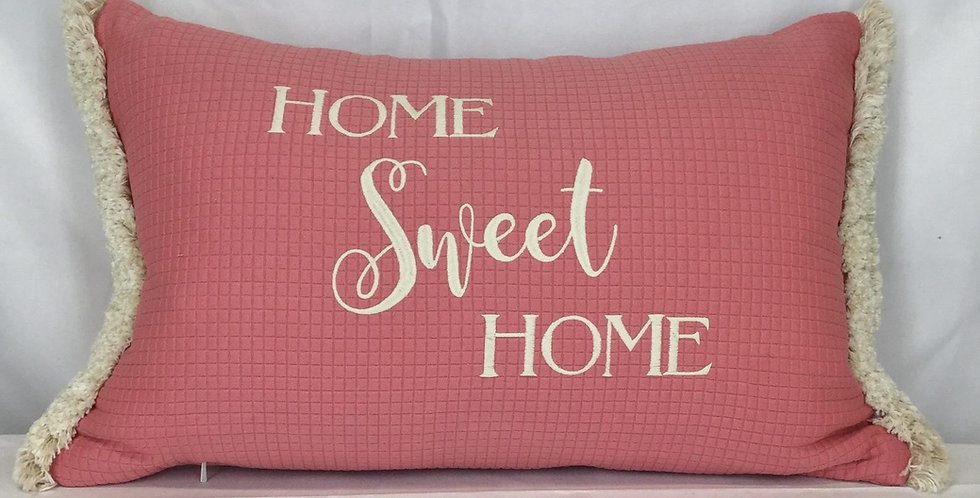 "Home Sweet Home Pink Embroidered Throw Pillows - ""Home Sweet Home"" - Brush Fring"