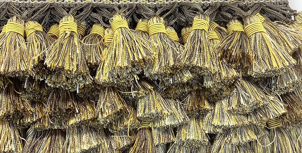 Yellow Taupe Tassel Trim - Intricate Yellow Accent - Trim by the Yard