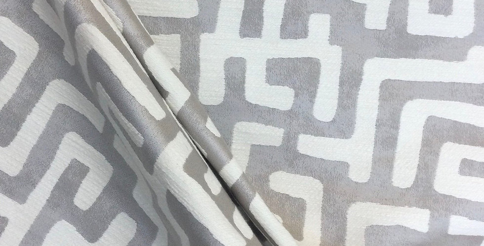 Platinum Gray Woven Tribal Maze - Tribal Print Fabric - Embroidered Pillow