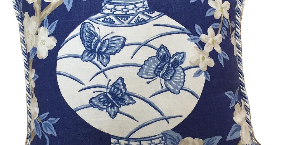 Navy Blue - White Chinese Lantern - Decor Pillow
