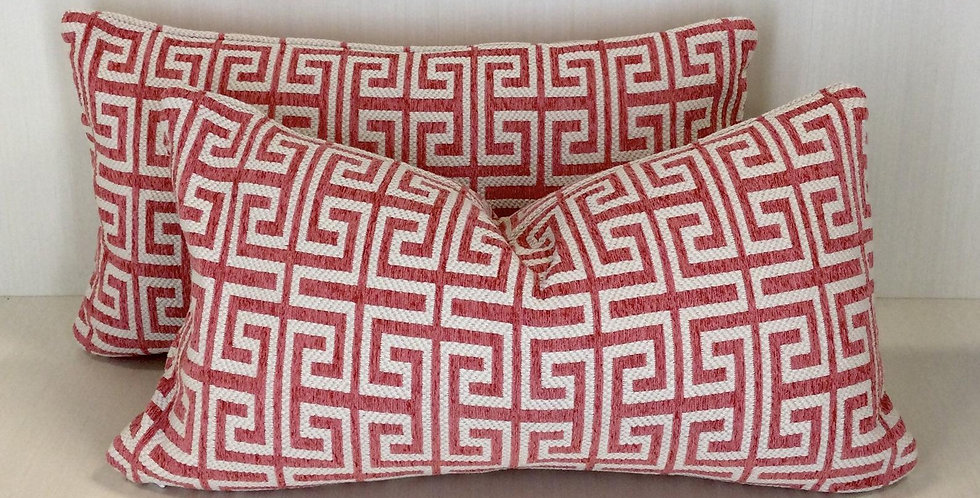 Coral Greek Key Pillow Cover
