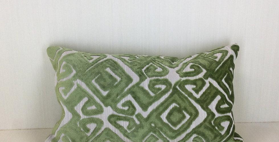 Green Cut Velvet Pillow Cover - Nola - Green - Velvet