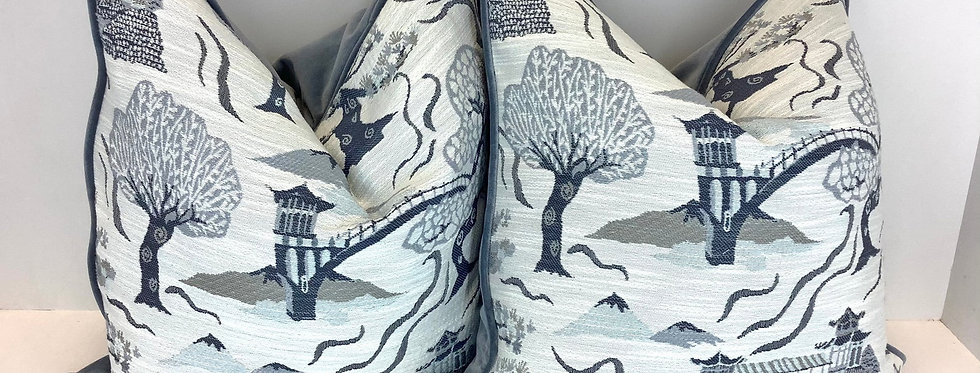Tokyo Blues and Velvet Pillow Cover